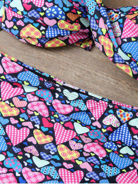 new Halter Heart Pattern High Waisted Two Piece Bikini - COLORMIX M Mobile