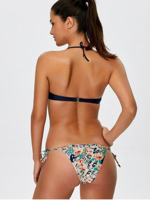 trendy Halter Lace Printed String Bikini - BLUE S Mobile