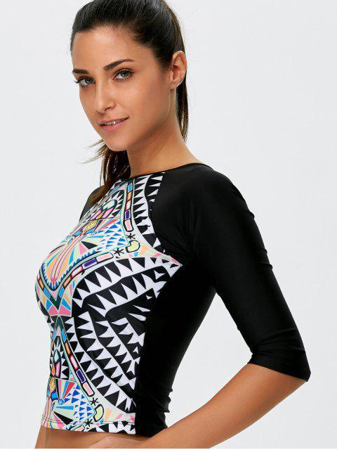 outfits Tribal Print Cropped Rashguard Bikini Set - BLACK L Mobile