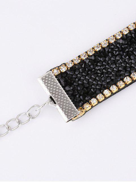 ladies Faux Leather Rhinestone Velvet Choker Necklace - BLACK  Mobile