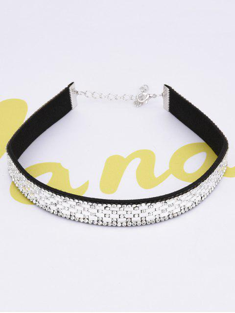 lady Artificial Leather Rhinestoned Choker - WHITE  Mobile