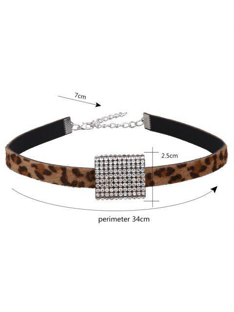 best Artificial Leather Leopard Print Rhinestone Choker - LEOPARD  Mobile