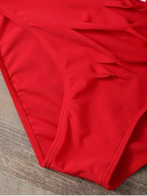 best Cut Out Bae Watch Swimwear - RED M Mobile