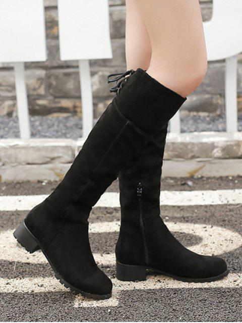 outfit Round Toe Lace Up Chunky Heel Boots - BLACK 37 Mobile