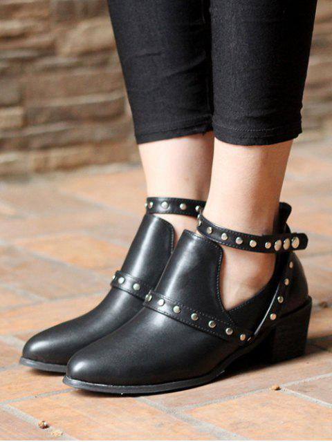 trendy Snaps Cross Strap Closure Studded Ankle Boots - BLACK 38 Mobile