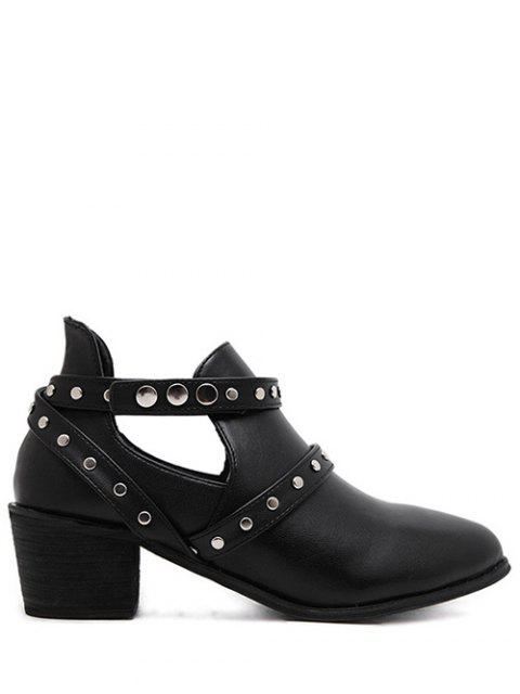 latest Snaps Cross Strap Closure Studded Ankle Boots - BLACK 37 Mobile