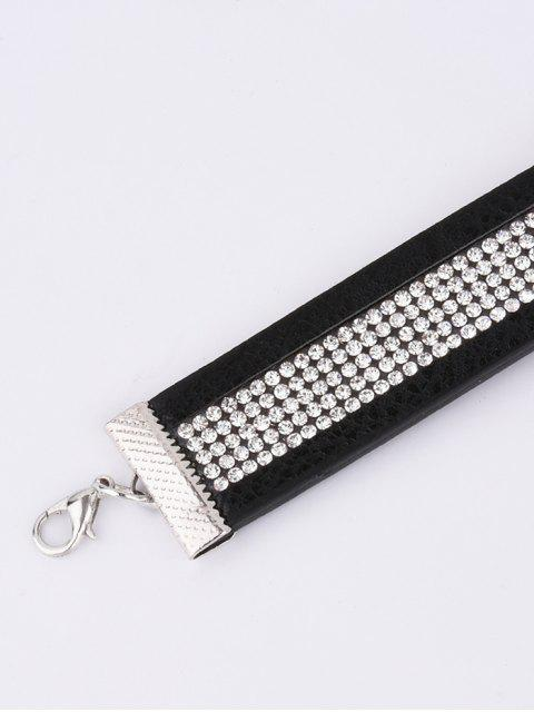 hot Rhinestone Faux Leather Choker - BLACK  Mobile