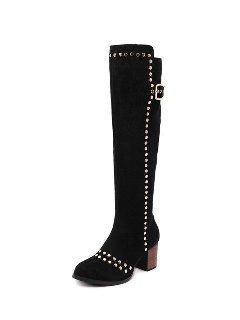 chic Zipper Studded Buckle Strap Knee High Boots - BLACK 37 Mobile
