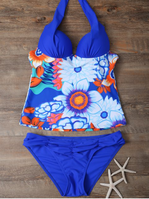 latest Halter Floral Push Up Padded Underwire Slimming Tankini - BLUE L Mobile