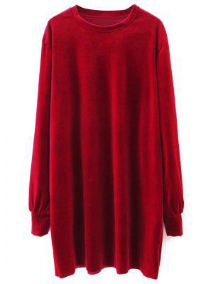 Long Sleeve Velvet Straight Dress - Red M