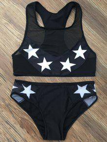 Star Mesh Panel Racerback Transparent Swimsuit - Black Xl