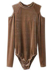 Snap Gusset Cutout Shoulder Velvet Bodysuit - Khaki L