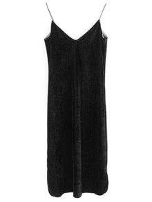 Elastic Strap Midi Velvet Dress - Black M