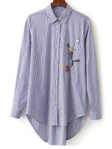 Brodé Chemise à Rayures Haut-Bas - Bleu M