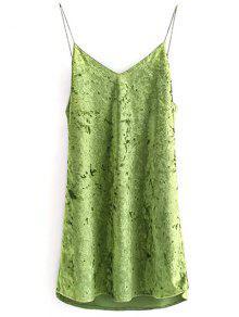 Terciopelo Arrugado Vestido De Cami - Verde M