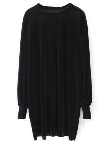 Buy Long Sleeve Velvet Straight Dress - BLACK M