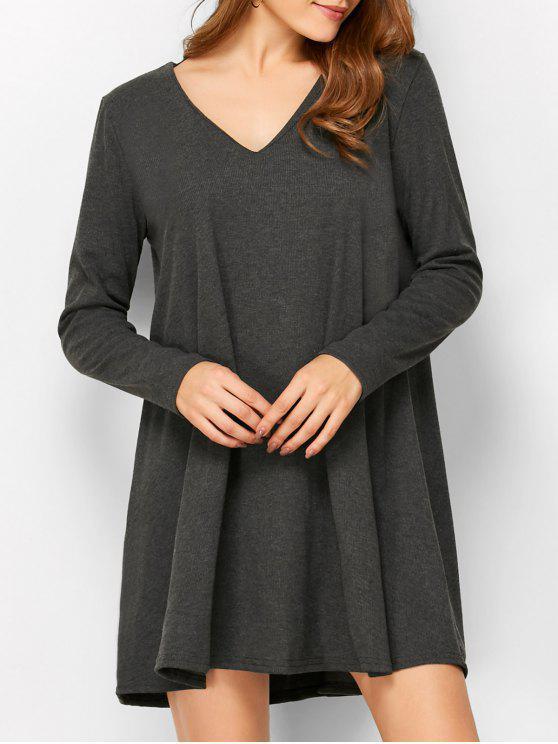 De manga larga con cinturón mini vestido - Negro M