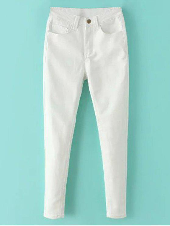 online High Waisted Zip Fly Jeans - WHITE L