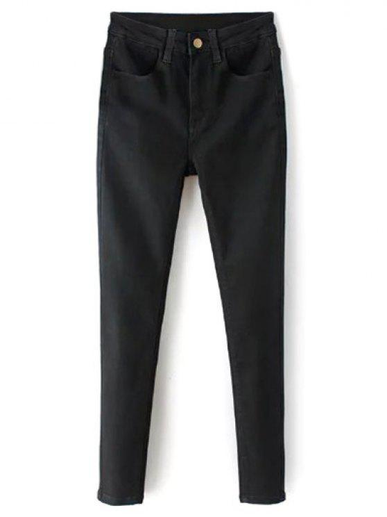 La alta cintura elástico estupendo del lápiz de los pantalones vaqueros - Negro 2XL