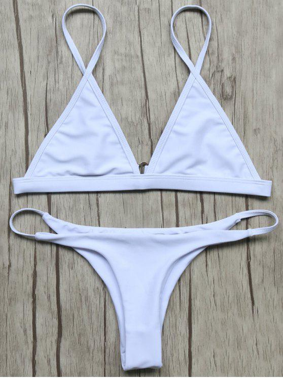 Haut de Bikinis non doublé à col plongeant +Bas lacets - Blanc M