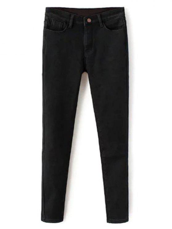 unique Super Elastic Wool Blend Pencil Jeans - BLACK S