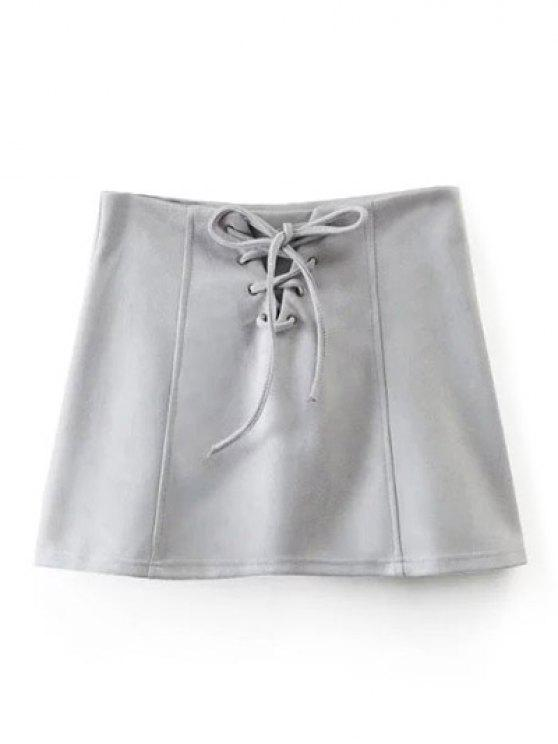 affordable Faux Suede Lace Up Mini Skirt - GRAY L