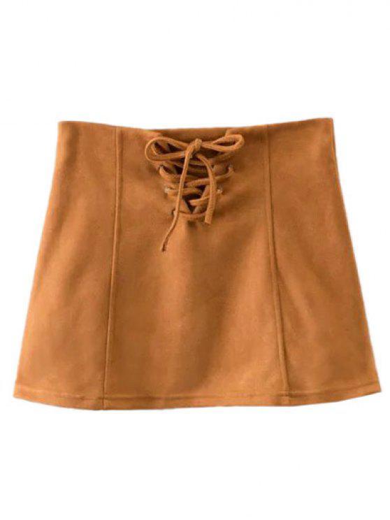 women Faux Suede Lace Up Mini Skirt - CAMEL L