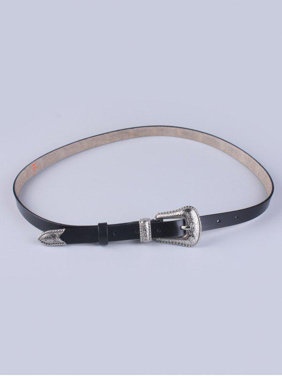 hot Vintage Pin Buckle Waist Belt - BLACK