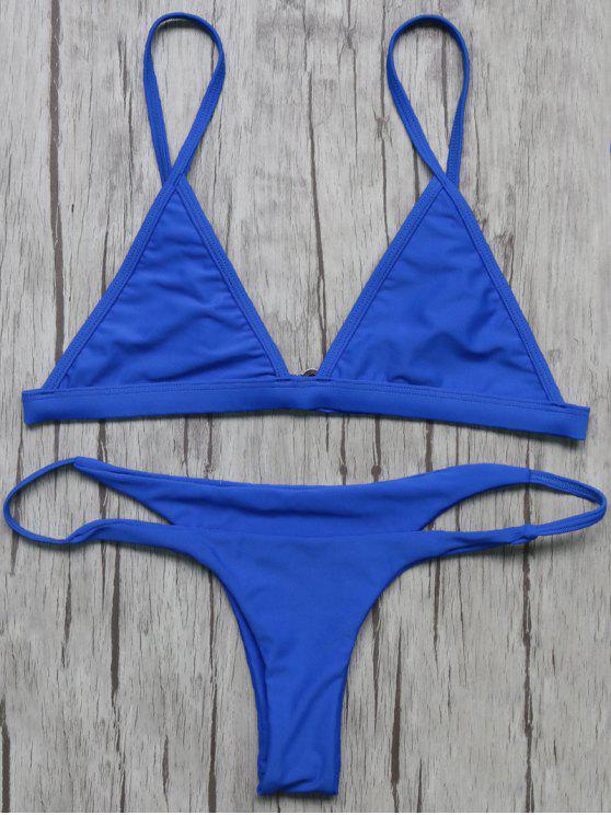 Haut de Bikinis non doublé à col plongeant +Bas lacets - Bleu L