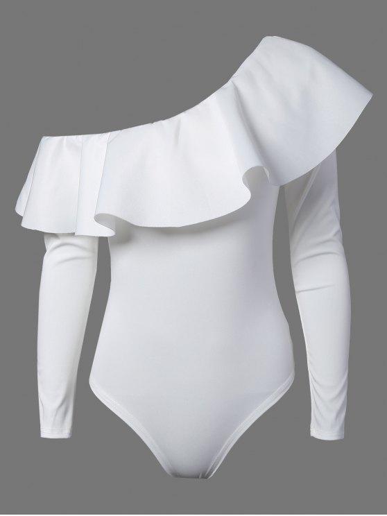 Enger Bodysuit mit Volant und Langarm - Weiß L