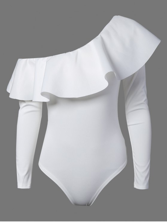 outfits Ruffles Long Sleeve Skinny Bodysuit - WHITE S