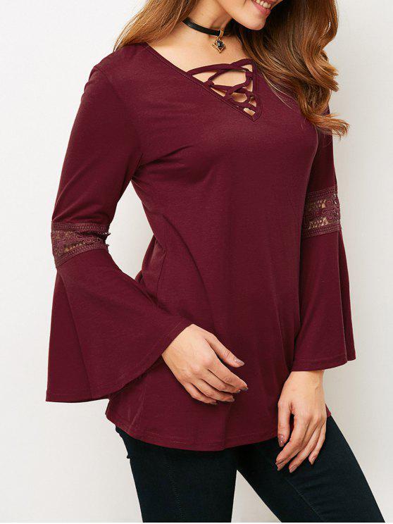 Manga de la llamarada con cordones de la camiseta - Vino Rojo L