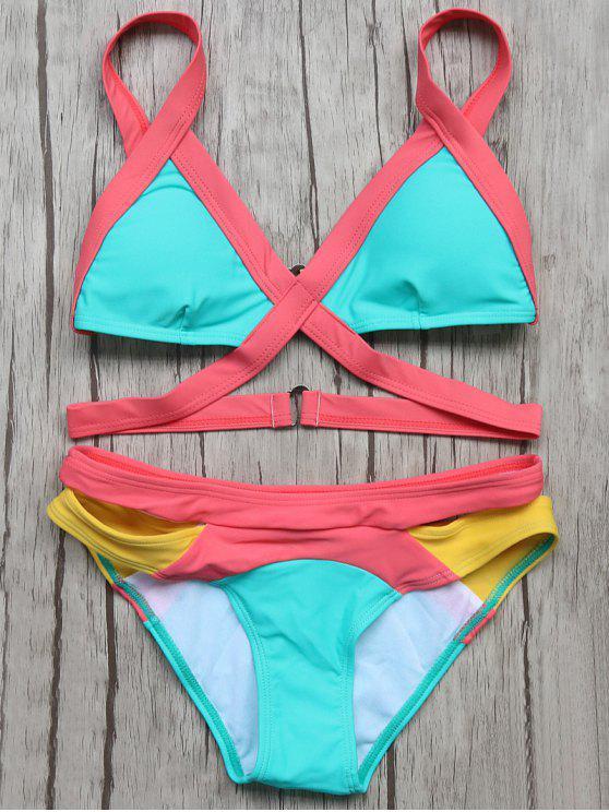 lady Patchwork Bandage Bikini Set - TURQOISE M