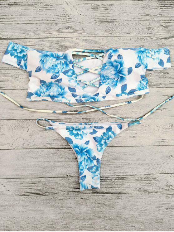 Ensemble de bikini épaules dénudées avec découpes - Bleu L