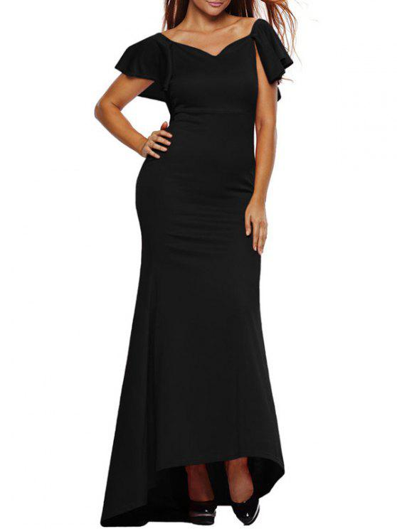 Vestido Largo Volante Sirena - Negro M