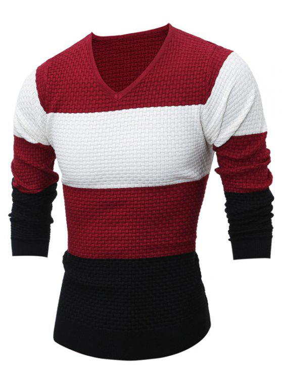 trendy Textured V Neck Color Block Sweater - RED M