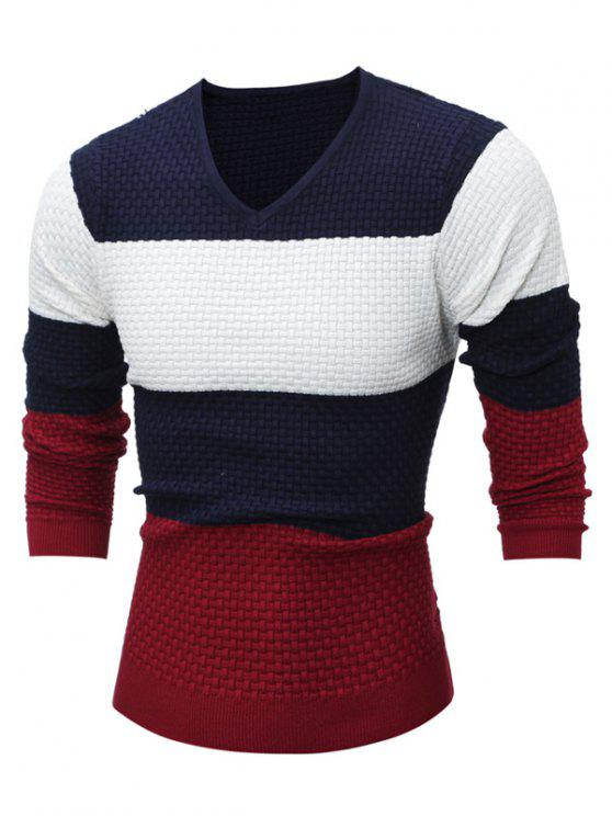 fashion Textured V Neck Color Block Sweater - CADETBLUE XL