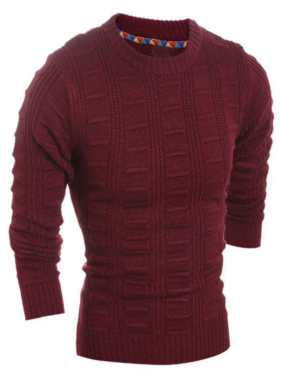 Slim Fit girocollo Patterned magliata - Vino rosso M