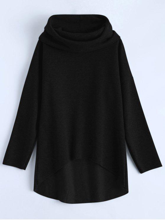 Alto Bajo cuello de la capucha Sudadera - Negro XL