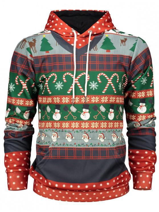 Hoodie Encapuçado com Estampa de Árvore do Natal e Floco de Neve - Vermelho M