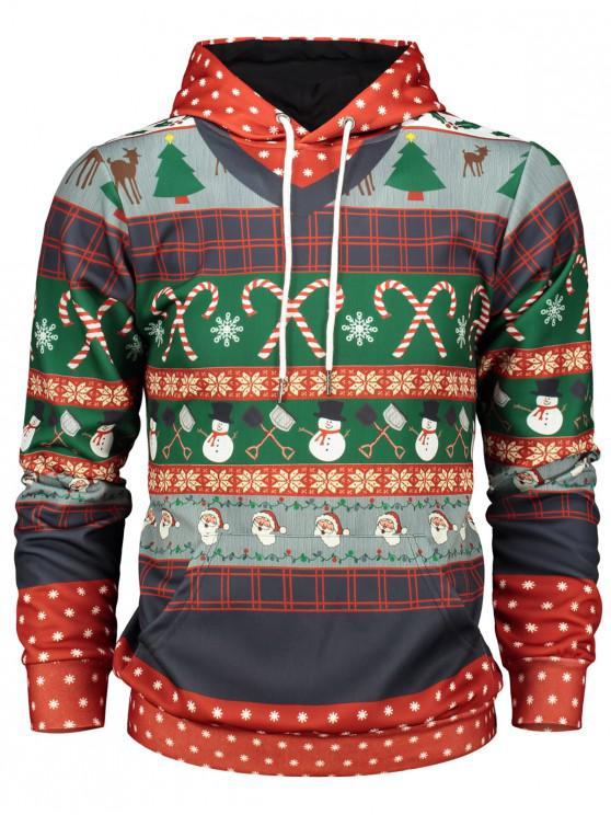 Christmas Graphic Print Pullover Hoodie - roșu L