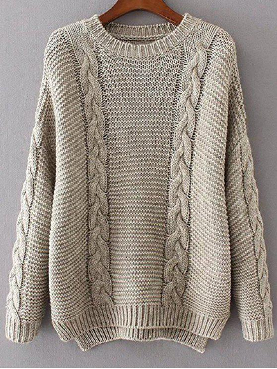 online High Low Cable Knit Jumper Sweater - GRAY ONE SIZE