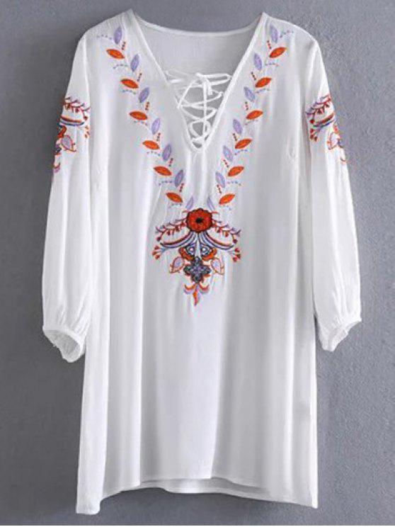 shop Embroidered Lace Up  Mini Tunic Dress - WHITE M