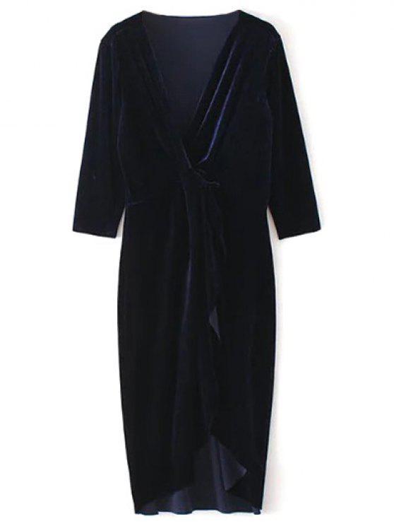 lady Asymmetric Velvet Midi Wrap Dress - PURPLISH BLUE S