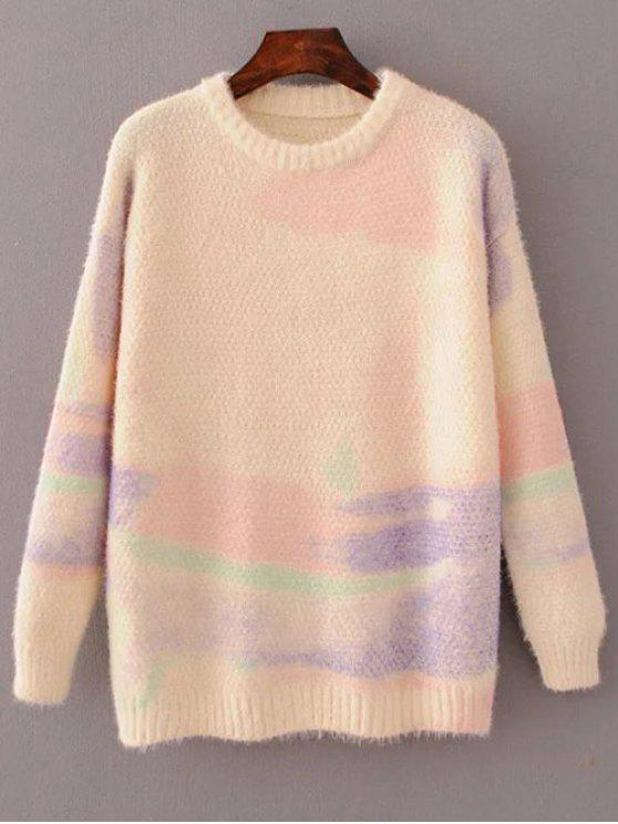 chic Oversized Space Dye Sweater - PINK ONE SIZE