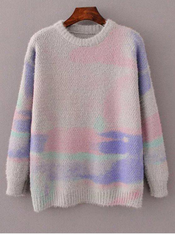 Pullover grande et teint - Gris TAILLE MOYENNE
