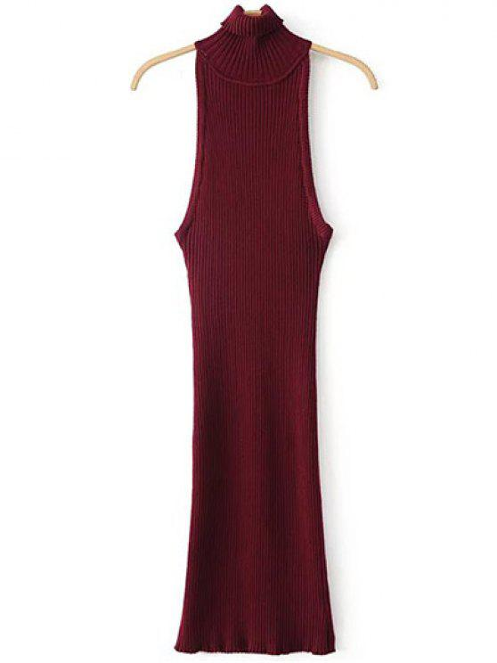 trendy Turtleneck Sleeveless Sweater Dress - BURGUNDY ONE SIZE