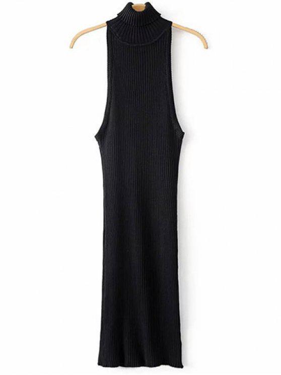 chic Turtleneck Sleeveless Sweater Dress - BLACK ONE SIZE