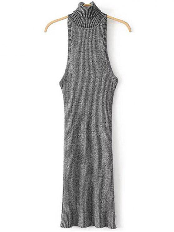 fancy Turtleneck Sleeveless Sweater Dress - GRAY ONE SIZE