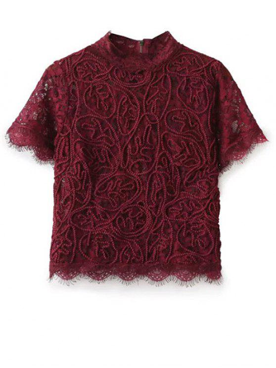 hot Mock Neck Lace Top - BURGUNDY M